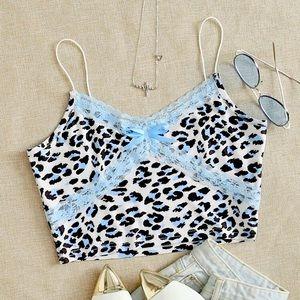 Blue cheetah print cropped cami